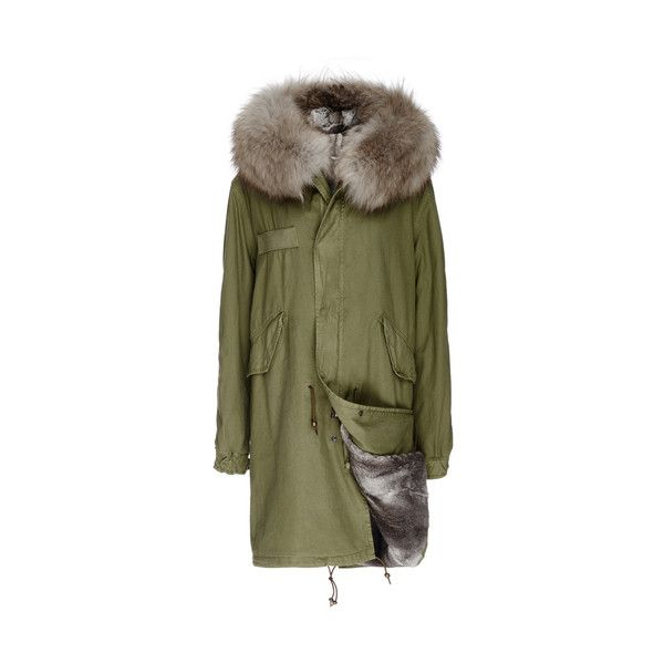 Mr & Mrs Italy Army Fur Lined Parka ($3,641) ❤ liked on Polyvore featuring outerwear, coats, green fur parka, fur parka coat, fur-lined parkas, green fur coat and parka coat