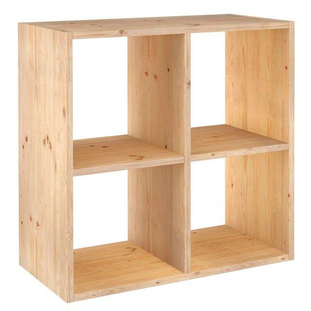 Etagère Pin Massif Dinamic 2x2 Cube Rangement Cube De Rangement Modulable étagère Bois Brut