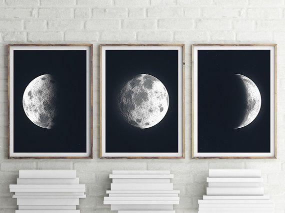 Trittico di luna  FILE stampabile. La Luna Luna Art. di ILKADesign