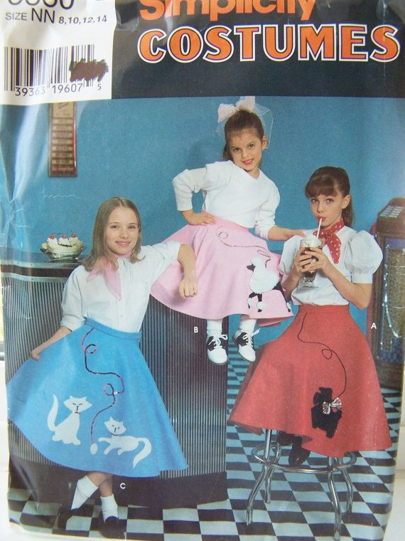 Simplicity 0660 Costume Sewing Pattern Girls Flared Poodle Skirt Cat Or Scottie Circle Size 8 To Vintage UNCUT