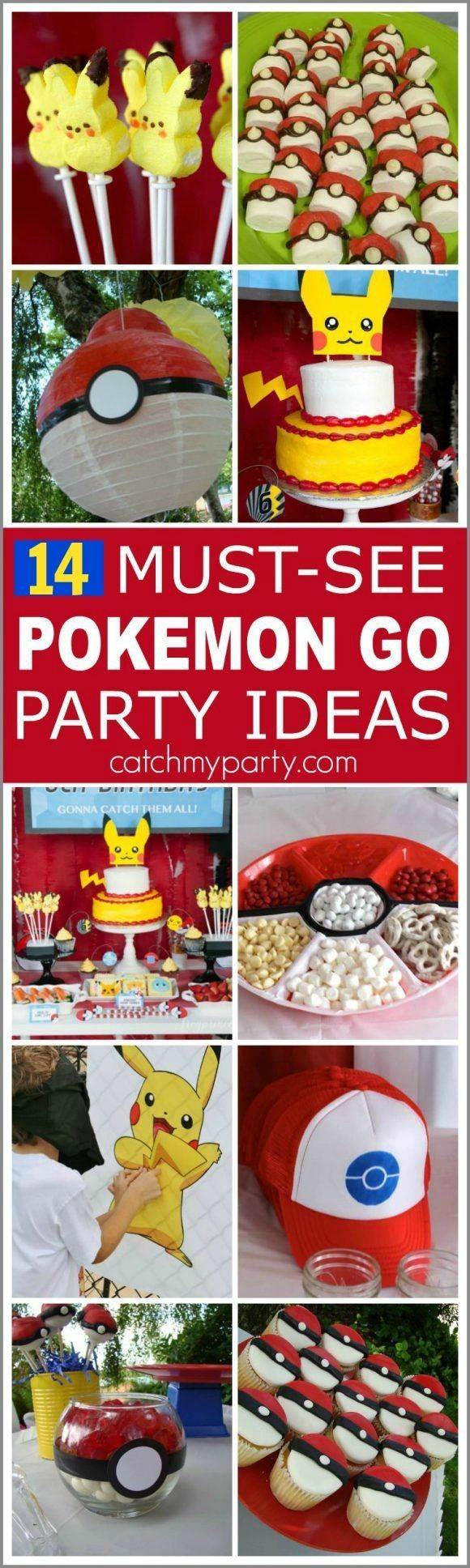14 Must-See Pokemon Go Party Ideas including desserts, decorations, party games, and party favors. These are all great ideas for your upcoming Pokemon Go birthday parties! | Catchmyparty.com