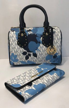 000774ecfacd Michael Kors Aria Bundled with Trifold Wallet Signature Mk Navy Saffiano Leather  Satchel. Save 47% on the Michael Kors Aria Bundled with Trifold Wallet ...