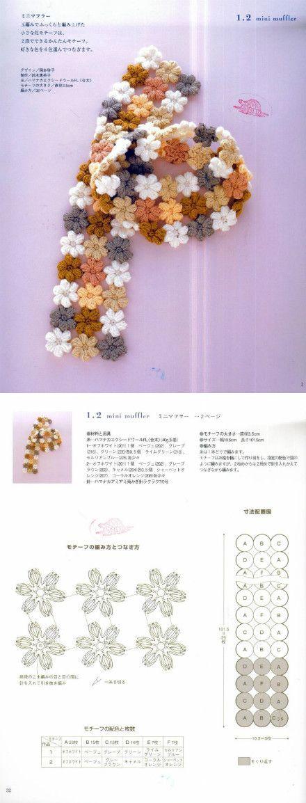 Puff Flower Scarf 手工 生活 勾花 教程 艺术…_来自明媚xy2010的图片分享-堆糖网