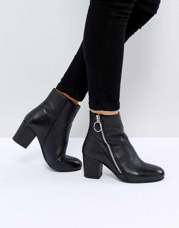Park Lane Leather Side Zip Boot - Black