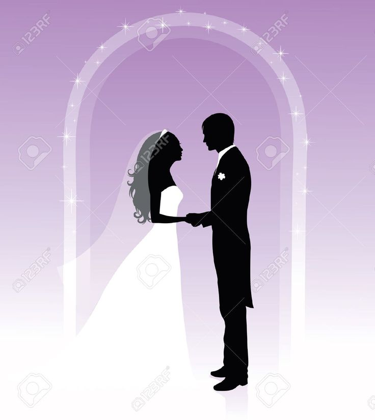 wedding card backgrounds vectors%0A Illustration of Black and white silhouettes of a groom and a bride holding  hands  vector art  clipart and stock vectors