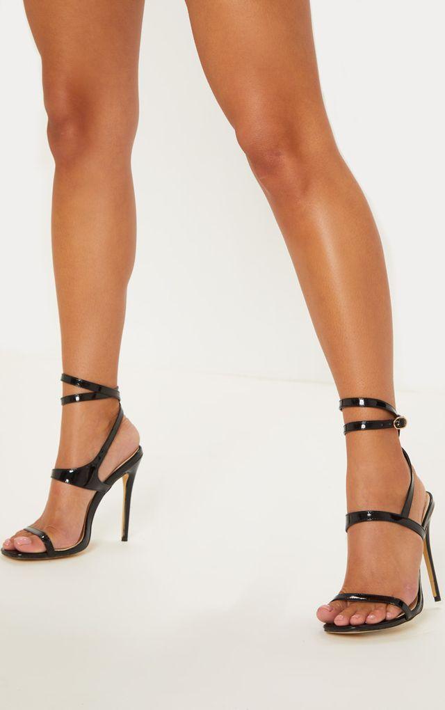 0d5b5eb7cb3 Black Square Toe Ankle Wrap Strappy Sandal