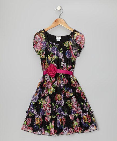 Black & Pink Rose Tiered Belted Dress - Girls