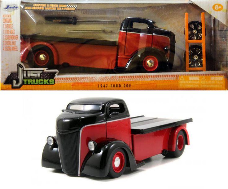 1947 Ford Coe mit Satz Reifen & Felgen rot schwarz 1:24 Jada Toys 54027 in…