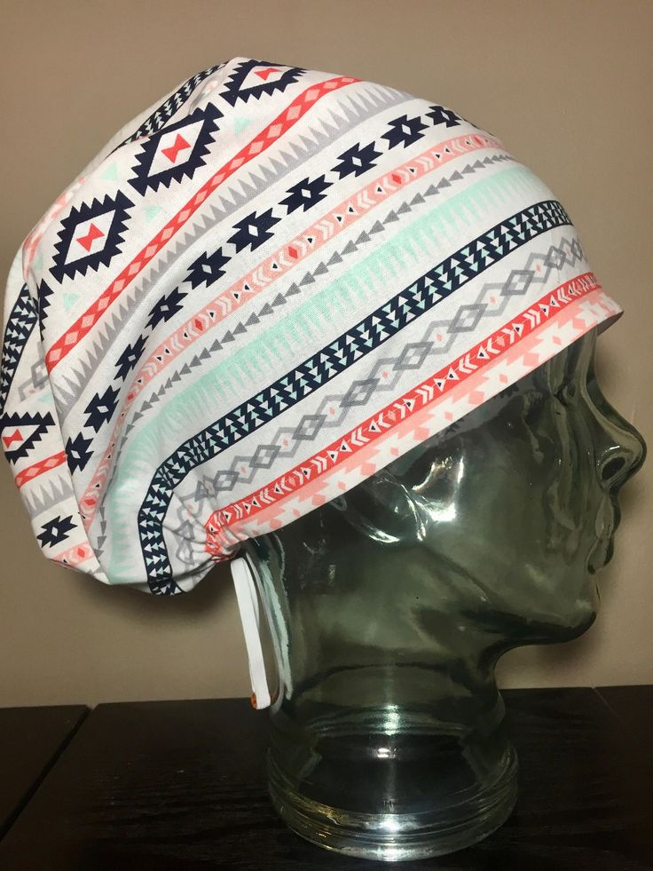Mint & Coral Tribal Print Surgical Scrub Hats, Women's Aztec Modified Bouffant Scrub Caps, European Style Scrub Hats, Custom Caps Company by CustomCapsCompany on Etsy