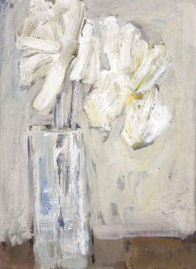 Basil Blackshaw HRHA RUA (1932-2016) Vase of Flowers Oil on card, 37 x 27cm (14½ x 10½'') Inscribed 'Welcom Home' verso Basil Blackshaw studio label signed by the artists daughter verso Provenance: The artist's studio and thence by descent