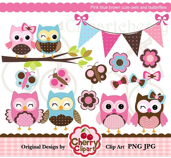 Pink blue brown cute owls and butterflies digital clipart set for-Personal and Commercial Use-Card Design, Scrapbooking, and Web Design via Etsy