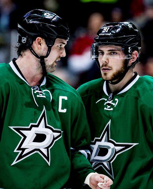Jamie Benn and Tyler Seguin • Dallas Stars • Tyler's zoned out already. • wintermonthnovelty.tumblr.com