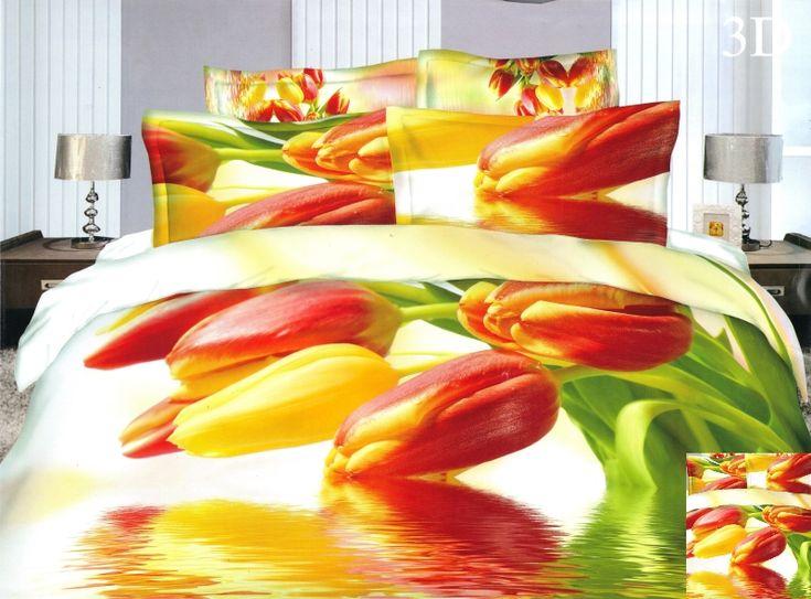 Kolorowe tulipany pościel na łóżko małżeńskie koloru białego