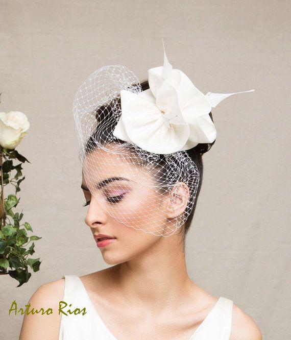 Ivory Bridal headpiece wedding hat wedding by ArturoRiosBridal