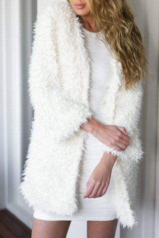 Noble Collarless Long Sleeve Faux Fur Women's White CoatCoats | RoseGal.com