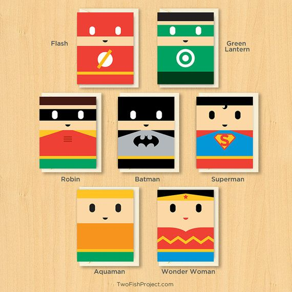 Superhero Valentines Day / Birthday Cards Set of by TwoFishProject