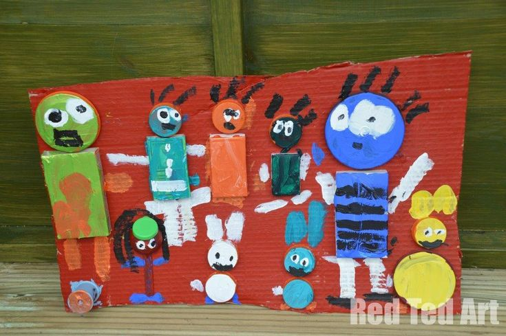 Karel Appel Art with Kids by Red Ted Art using cardboard and paint.