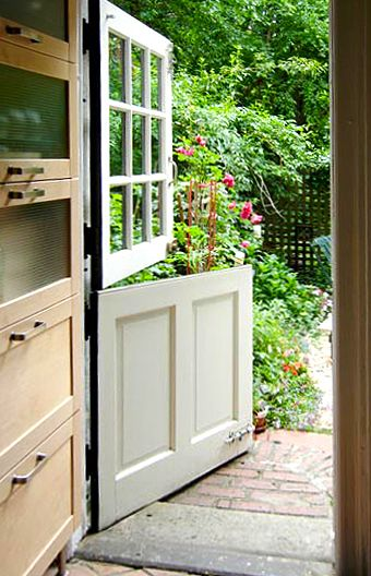 Dutch Doors - Known in early New England as a double-hung door, the initial purpose of this door was to keep animals out of farmhouses, or keep children inside, while allowing light and air to filter through the open top.