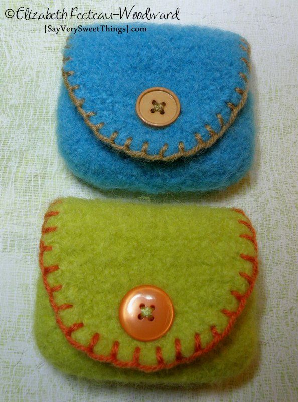 Crocheted & Felted Small Pouches Or Change Purse