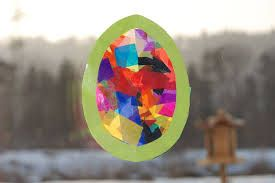 hip hop hen: Easter craft - tissue paper stain glass window
