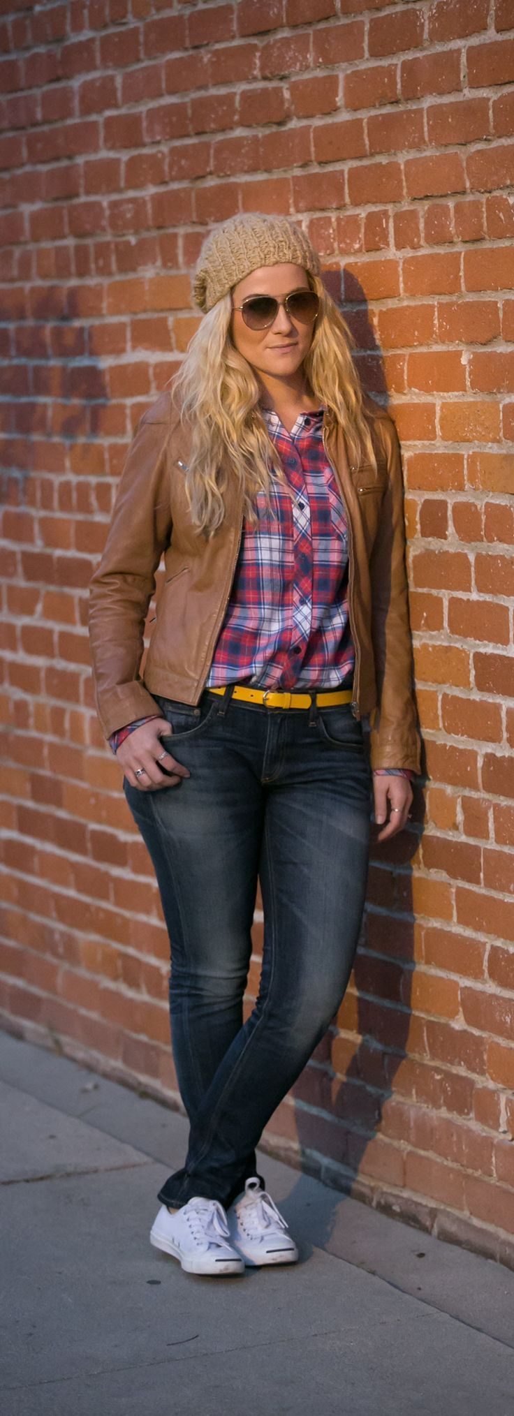 Plaid Shirt and Leather Jacket Outfit perfect for fall and winter. Cute tan beanie.