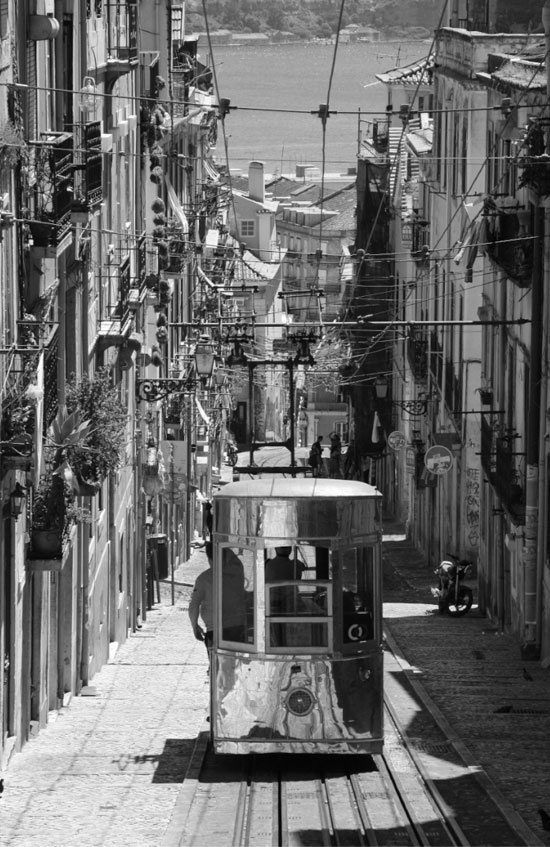 Lisbon's silver tram that climbs the hill for you