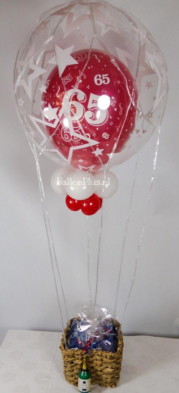 Helium luchtballon - 65 jaar - Rood - van BallonPlus.nl ( op aanvraag)