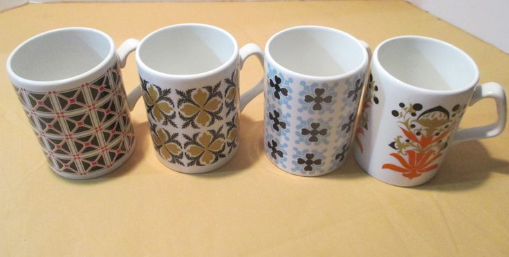 Set Of 4 Vintage Arklow Coffee Tea Mugs Republic Of Ireland Assorted Patterns by GwensHaberdashery on Etsy