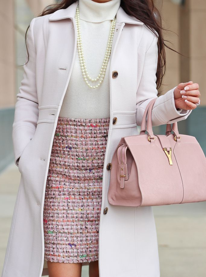 J.Crew petite lady day coat, Ann Taylor pink tweed pencil skirt, cashmere turtleneck, YSL cabas chyc mini, work outfit, cold weather outfits, business attire, Fall Winter cold weather outfits, winter neutrals - Click the photo for full outfit details!