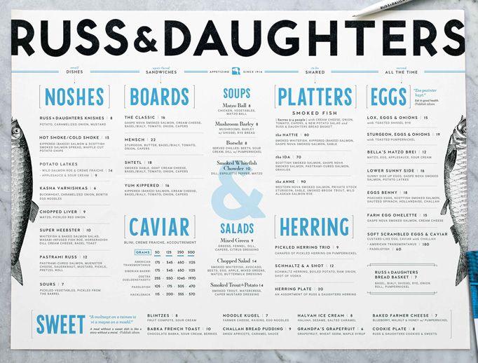 Kelli Anderson / Russ & Daughters Cafe #graphic #design #menu #restaurant