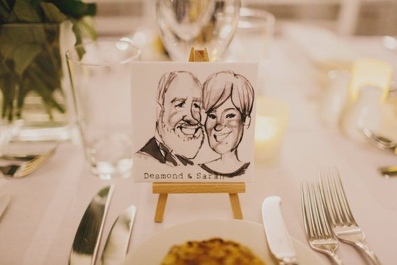 Artist Drawn Caricature Wedding Favor and Place Card.   #OnlyOnEtsy  #TheArtistsFavor