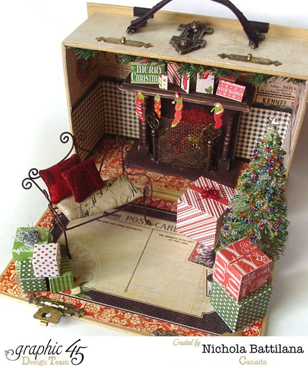 Alfie and Evie Elf Book Box House with Graphic 45 by Nichola Battilana