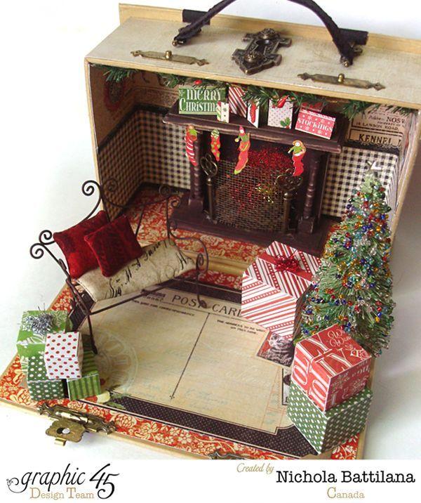 Elf Book Box House with Graphic 45 by Nichola Battilana