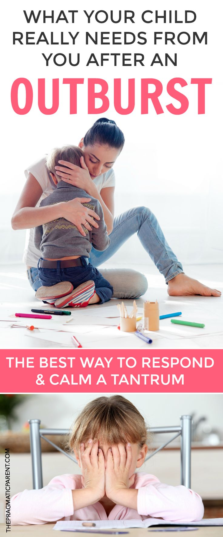 How to peacefully defuse your child's tantrum using empathy and teaching about emotions in the process. What outbursts really mean and what your child needs from you afterwards. The best way to respond & calm down a tantrum! Stop tantrums by helping your child learn about emotions, name feelings, give back power and calmly handle emotional behavior. #calmatantrum #tempertantrums #tantrums