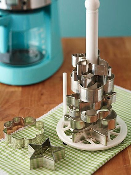 Stack cookie cutters on a paper towel holder to not lose them