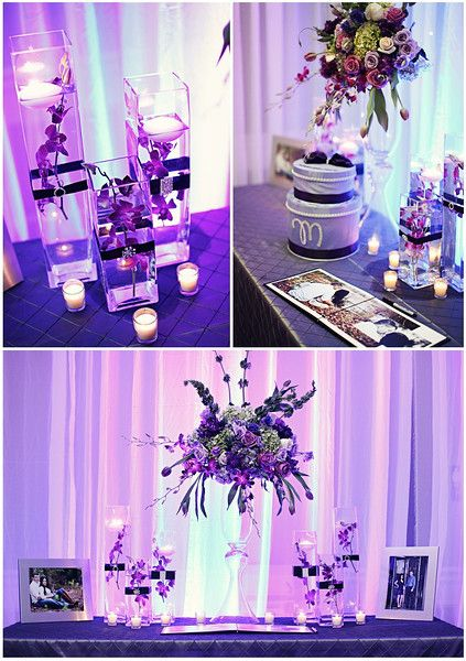 """square vases w/floating candles and submerged orchids (""""Monique & Kevin – Chic Purple & Pewter Wedding"""")"""