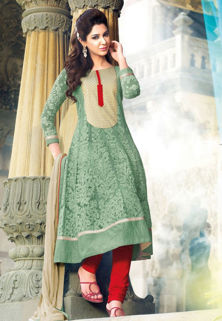 I like the color combination of mint and red.    Light #Green Faux Georgette #Anarkali Churidar Kameez @ $150.57