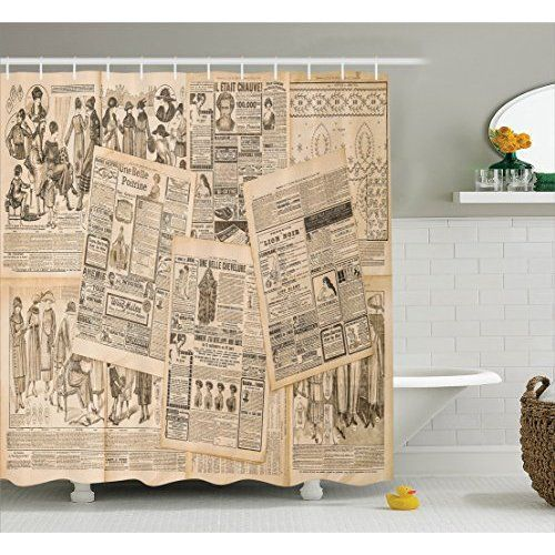 Retro Home Decor Shower Curtain Set By ALAZA,Vintage Old-Fashioned Classic Newspaper Design,Polyester Bathroom Shower Curtain Set with Hooks,60W X 72L Inches,Beige