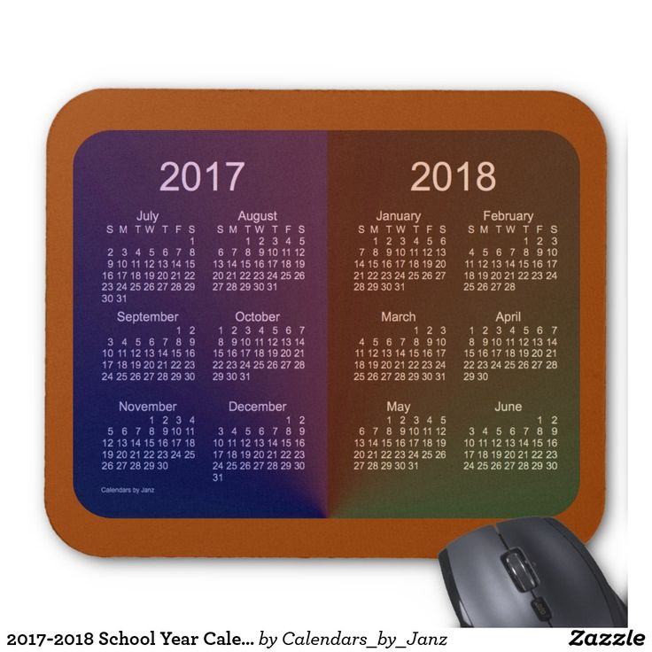 2017-2018 School Year Calendar by Janz Mouse Pad