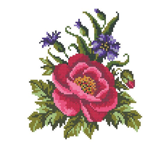 Cross stitch embroidery Poppy Embroidery by BicallisEmbroidery