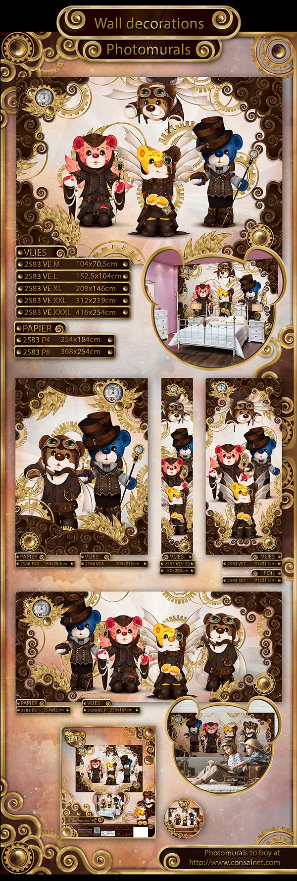 Steampunk bears: wall decorations