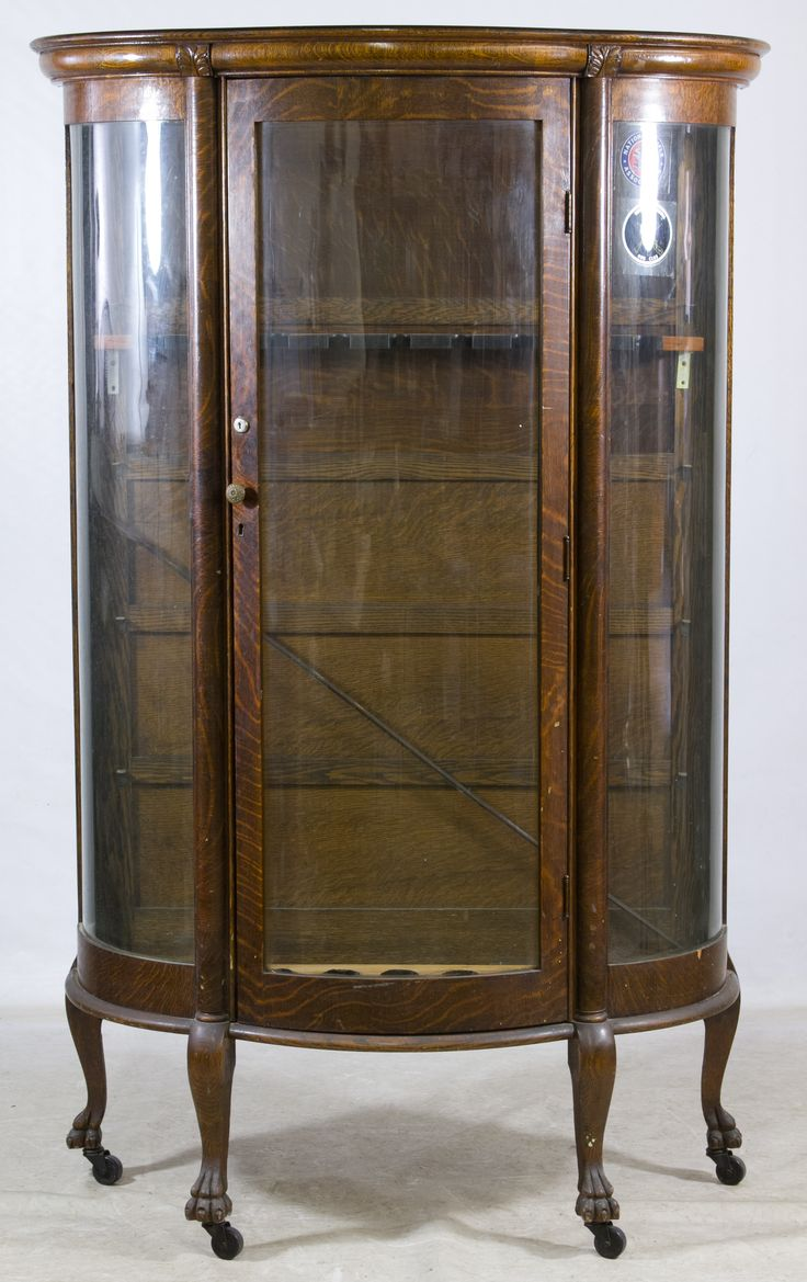 Lot 128: Oak Curved Glass China Cabinet; Having been converted to nine  station rifle - 11 Best Curved Glass Cabinets Images On Pinterest Cabinets, Glass