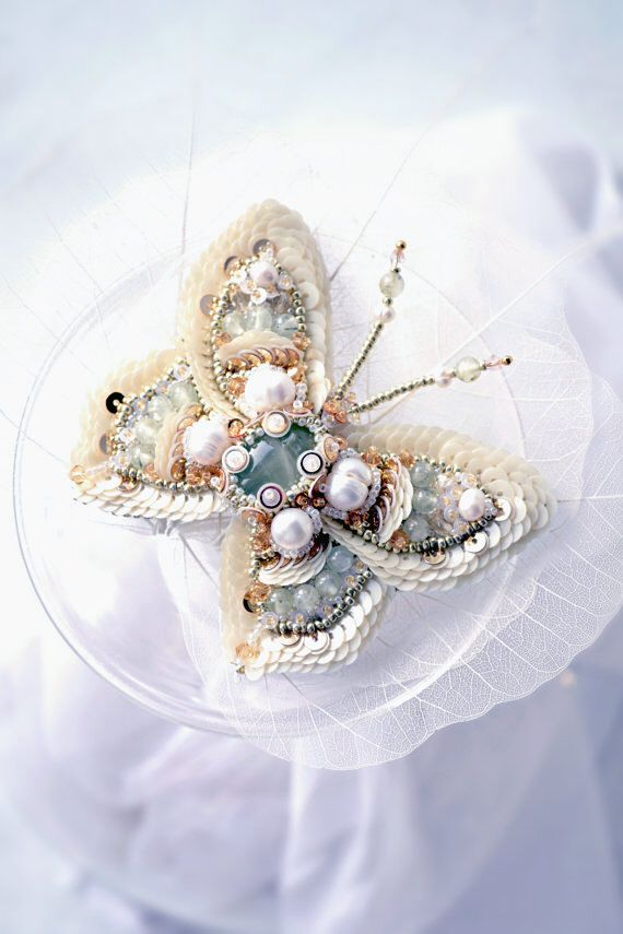 Summer wedding Aquamarine ivory butterfly unique luxury designer jewelry embroidered nature inspired mint green pearl brooch gift for bride by PurePearlBoutique on Etsy https://www.etsy.com/listing/187812202/summer-wedding-aquamarine-ivory