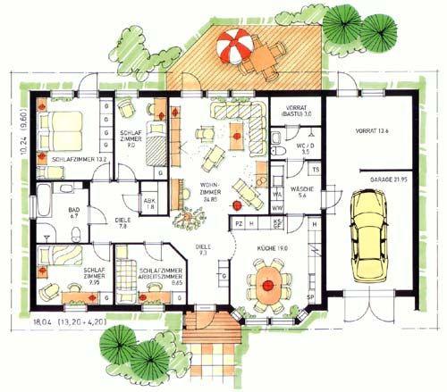 Grundriss bungalow 4 zimmer  Die 25+ besten Grundriss bungalow Ideen auf Pinterest | Haus ...