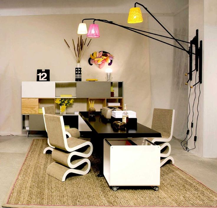 Modern Home Office Furniture House Interior Designs with unique chairs design and brown carpet also colorful light