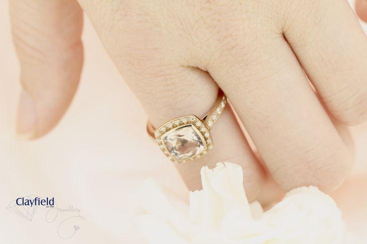 Beautiful morganite and diamond ring, by Clayfield Jewellery in Nundah Village, North brisbane