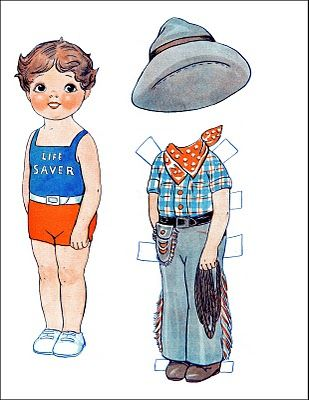 Vintage Kids Printable - Cowboy Paperdoll - The Graphics Fairy