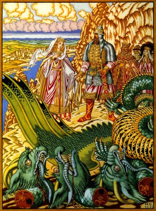 """Ivan Bilibin (1876-1942) was a Russian artist who illustrated Russian folk and fairy tales.  This illustration is from the Russian folk tale, """"Dobrynya and the Dragon"""". Here Dobrynya Nikitich rescues Zabava from the Gorynych (3-headed dragon)."""