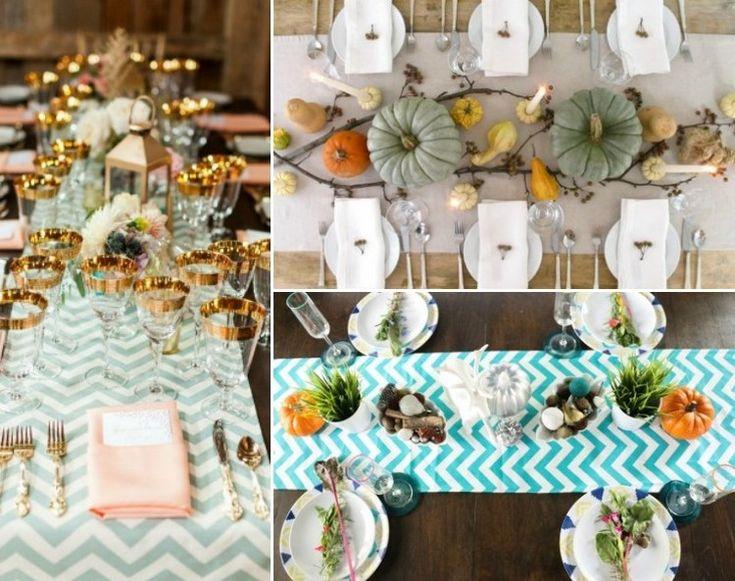 déco table automne vintage avec un chemin de table à motifs chevrons, couverts jaune doré et citrouilles