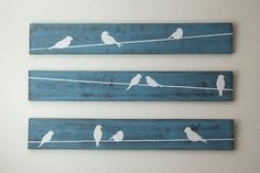 Rustic Wall Art Birds on a wire 3 piece set LARGE by HomeFrosting